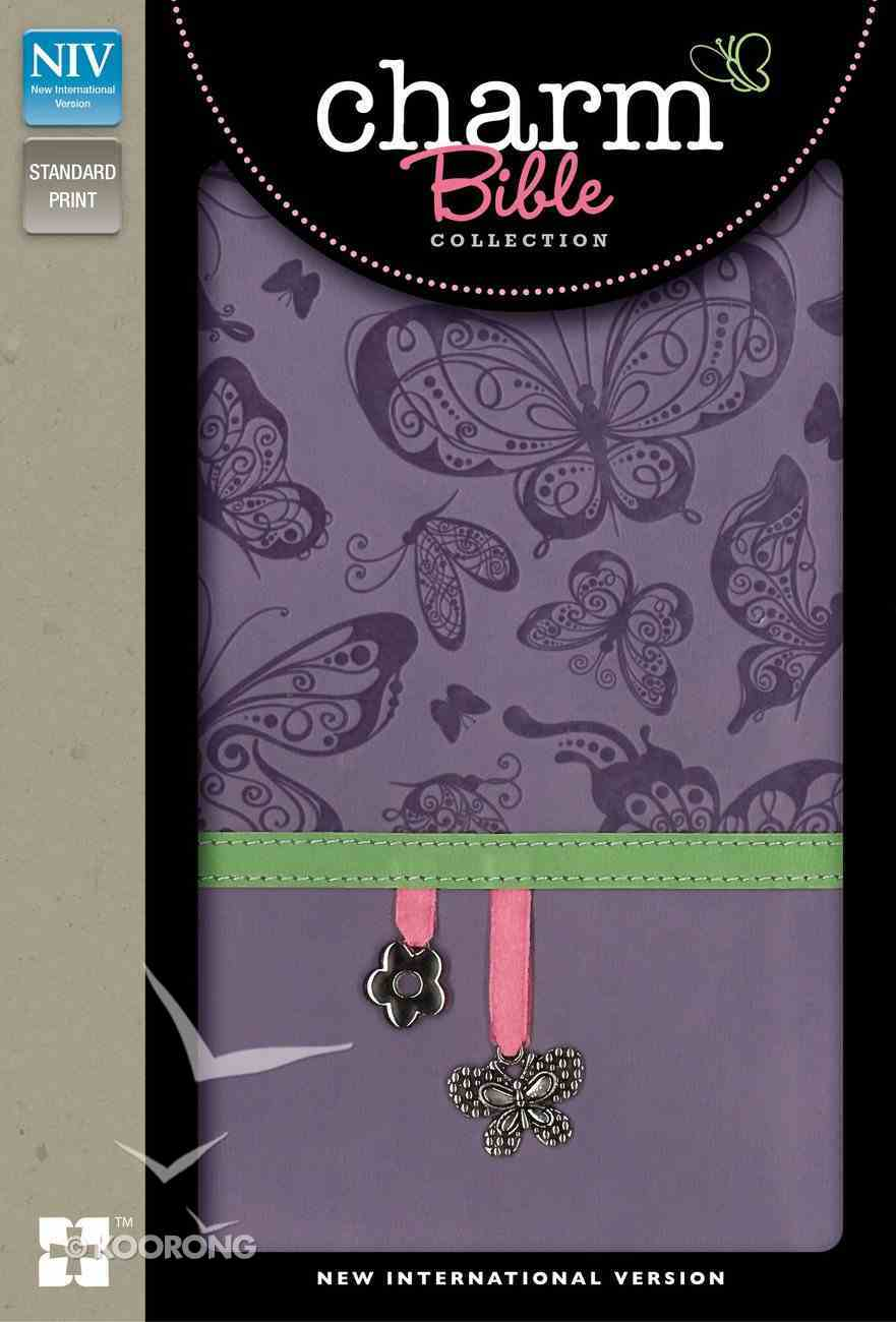 NIV Charm Bible Collection Purple Butterfly Charm Imitation Leather