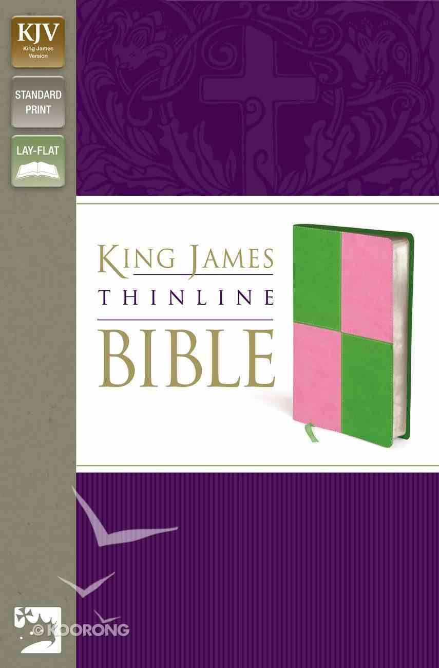 KJV Thinline Italian Meadow Green/Pink Duo-Tone (Red Letter Edition) Imitation Leather