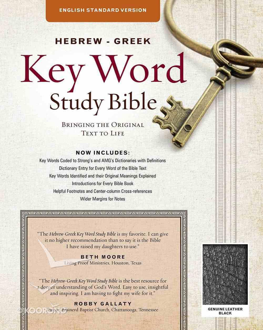 ESV Hebrew-Greek Key Word Study Bible Black Indexed Genuine Leather