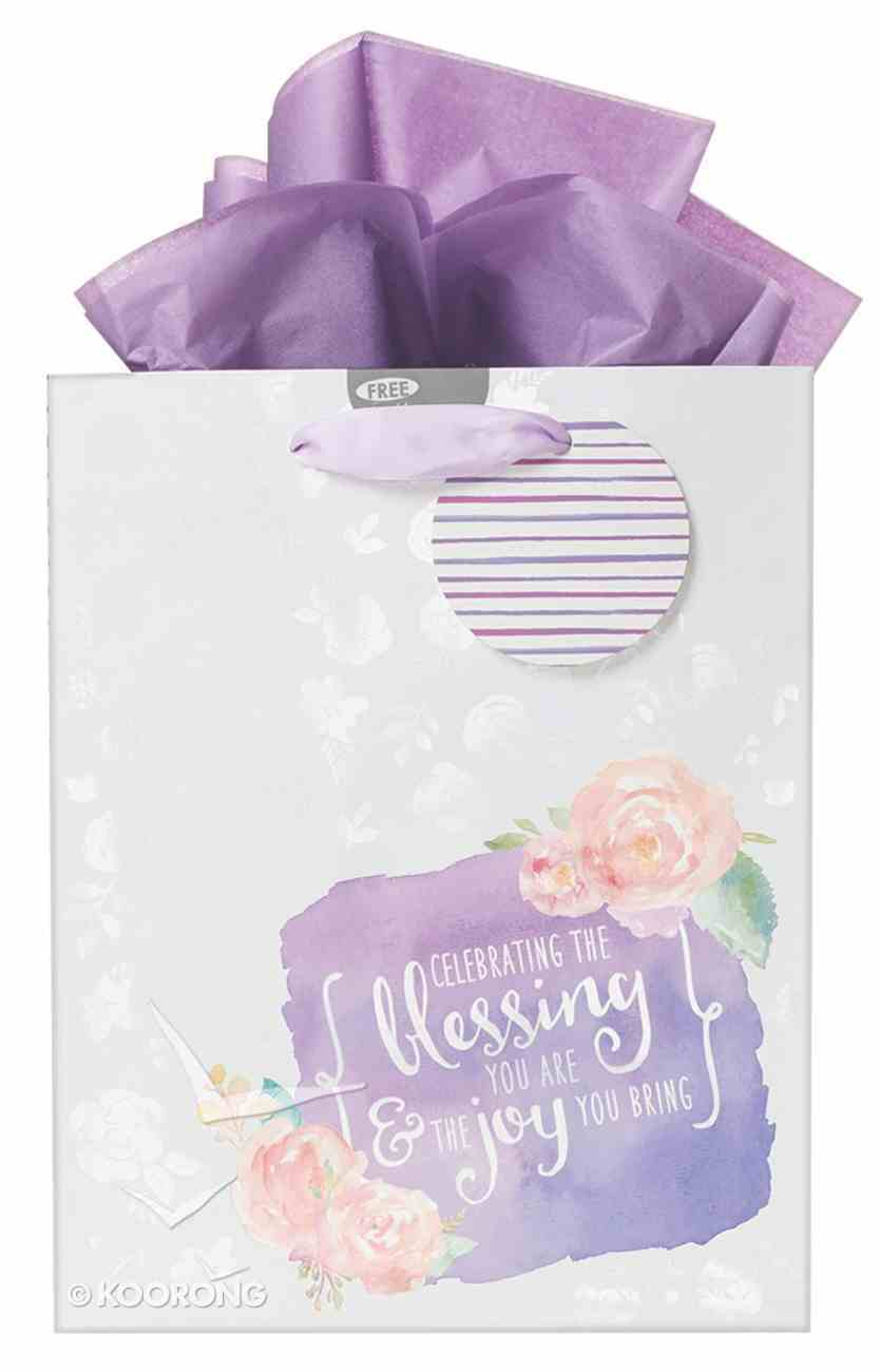 Gift Bag Medium: Celebrate the Blessing You Are, Purple/Roses (Incl Tissue Paper & Gift Tag) Stationery
