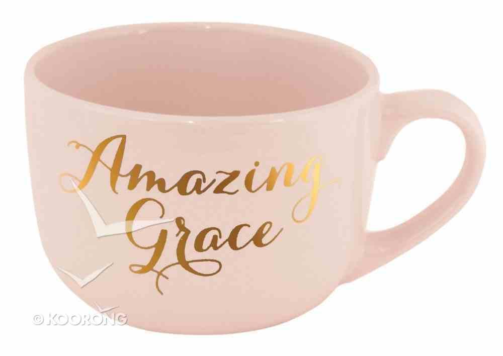 Large Gold Trimmed Mug: Amazing Grace, Pink Homeware
