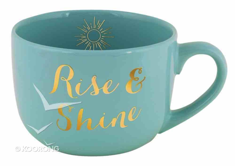Large Gold Trimmed Mug: Rise & Shine, Mint Homeware
