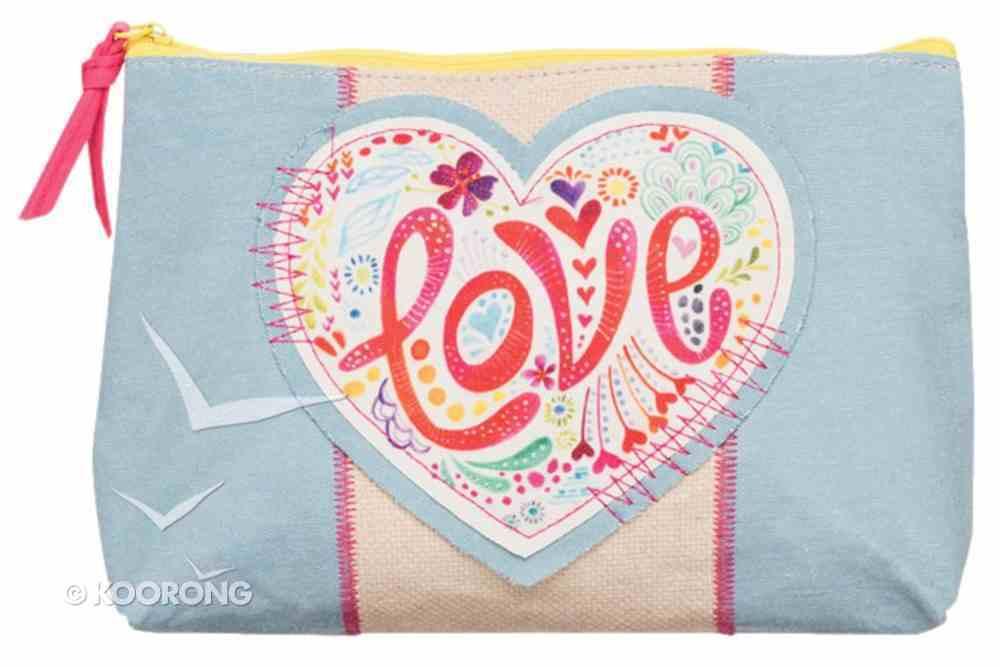Medium Accessory Case: Love Let Your Light Shine, Pale Blue/Pink Soft Goods