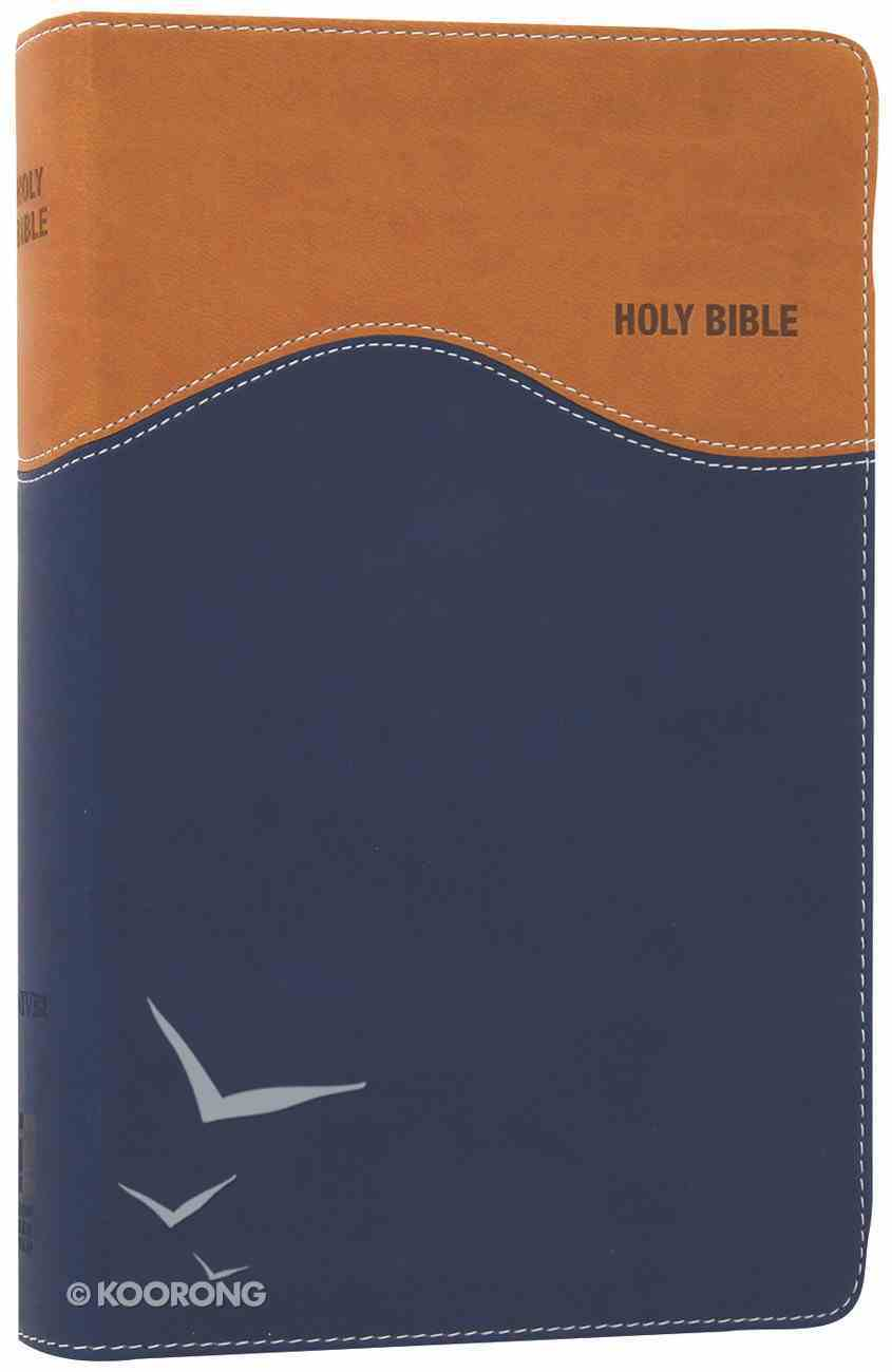 NIV Gift Bible Tan Blue (Red Letter Edition) Premium Imitation Leather