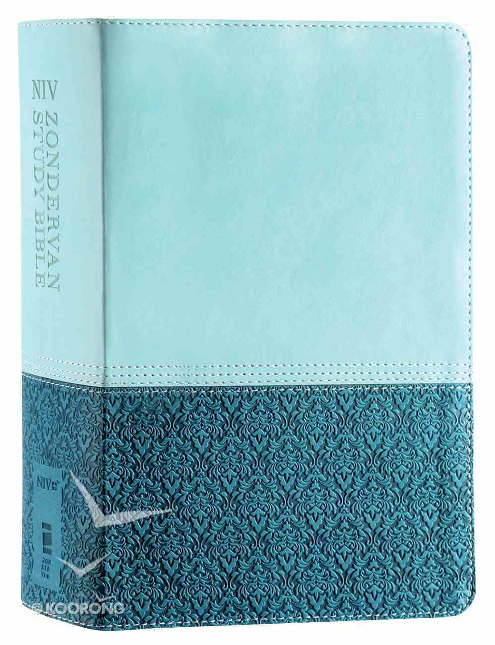 NIV Zondervan Study Bible Full Colour Personal Size Sea Glass Caribbean Blue (Black Letter Edition) Premium Imitation Leather