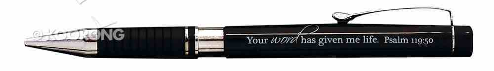 Ballpoint Pen Black in Metal Box: Your Word Has Given Me Life, Psalm 119:50 Stationery