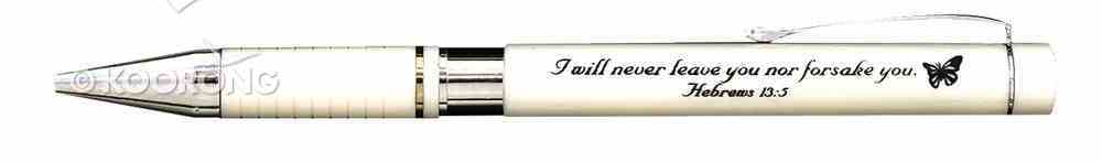 Ballpoint Pen White in Metal Box: I Will Never Leave You, Hebrews 13:5 Stationery