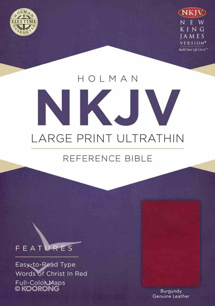 NKJV Large Print Ultrathin Reference Bible Burgundy Genuine Leather
