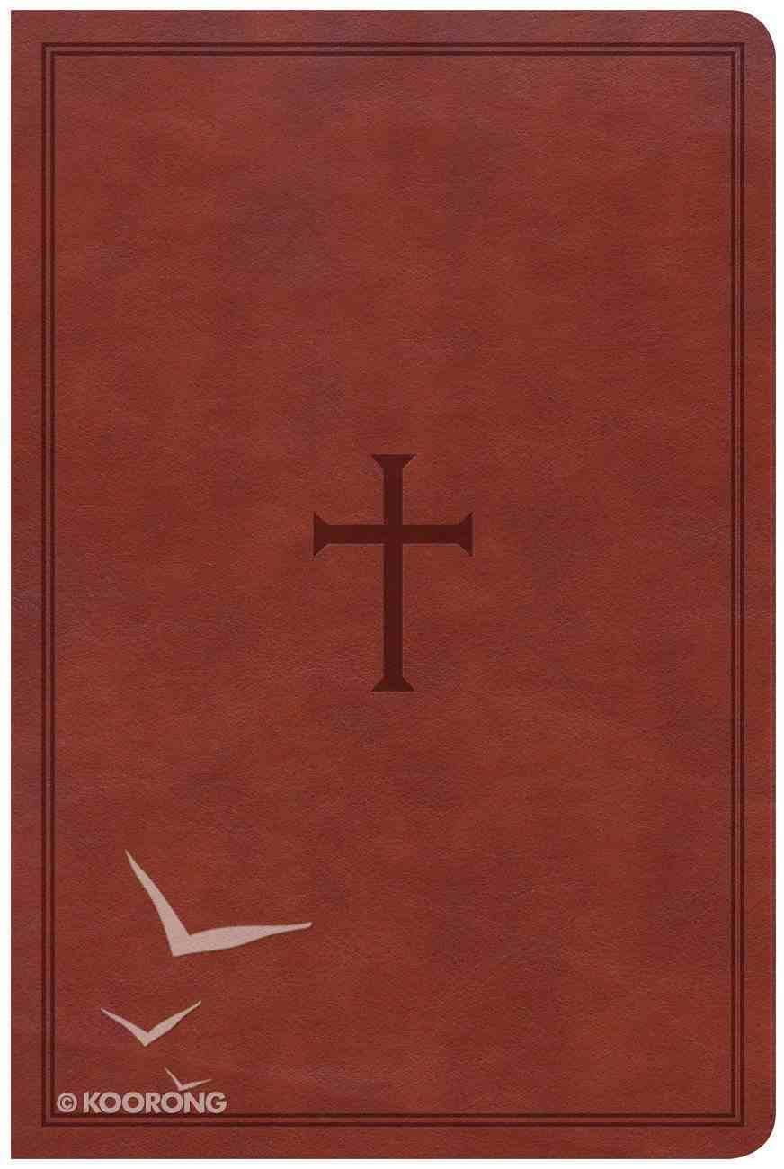 CSB Large Print Personal Size Reference Bible Brown Red Letter Edition Imitation Leather