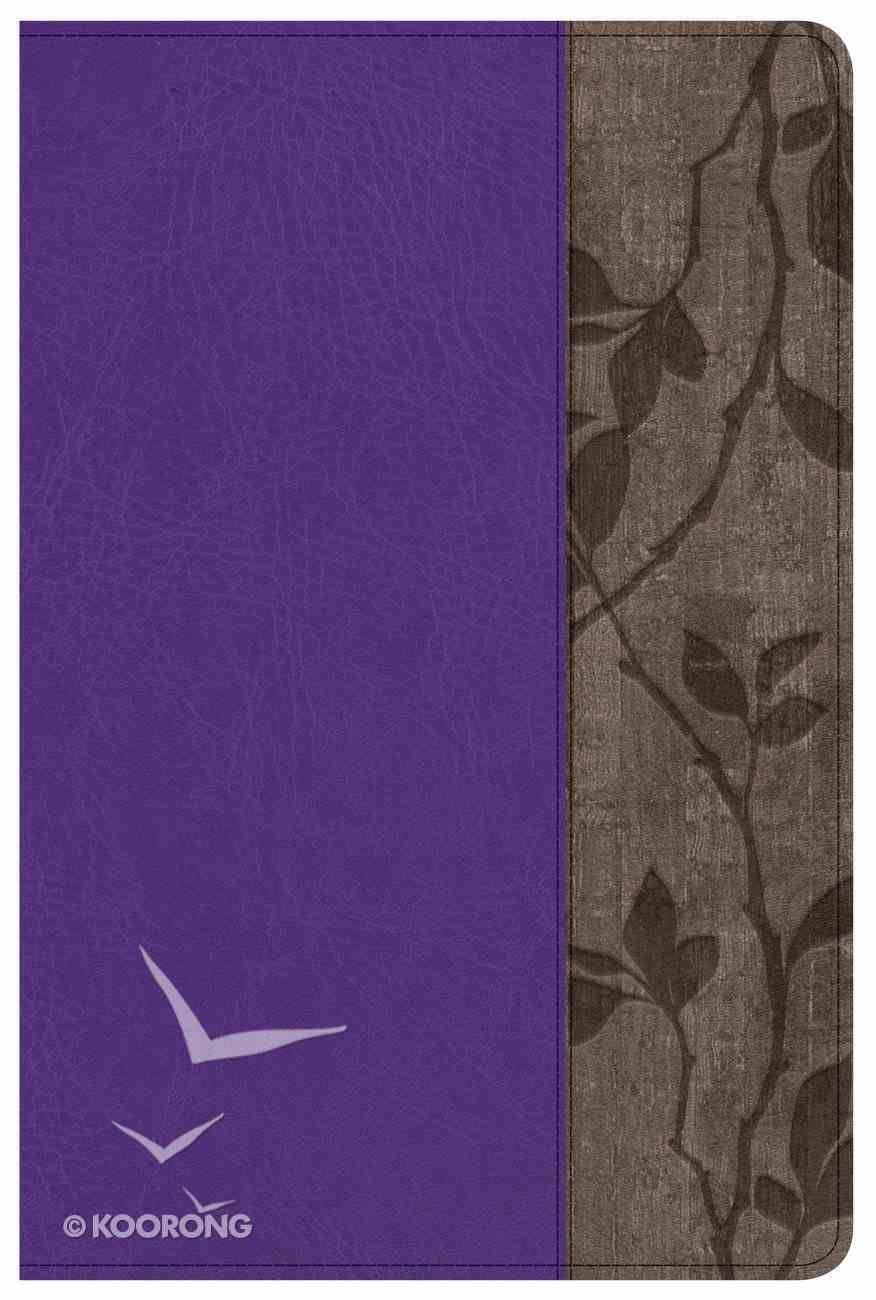 KJV Study Bible Personal Size Purple With Brown Cork Leathertouch Imitation Leather