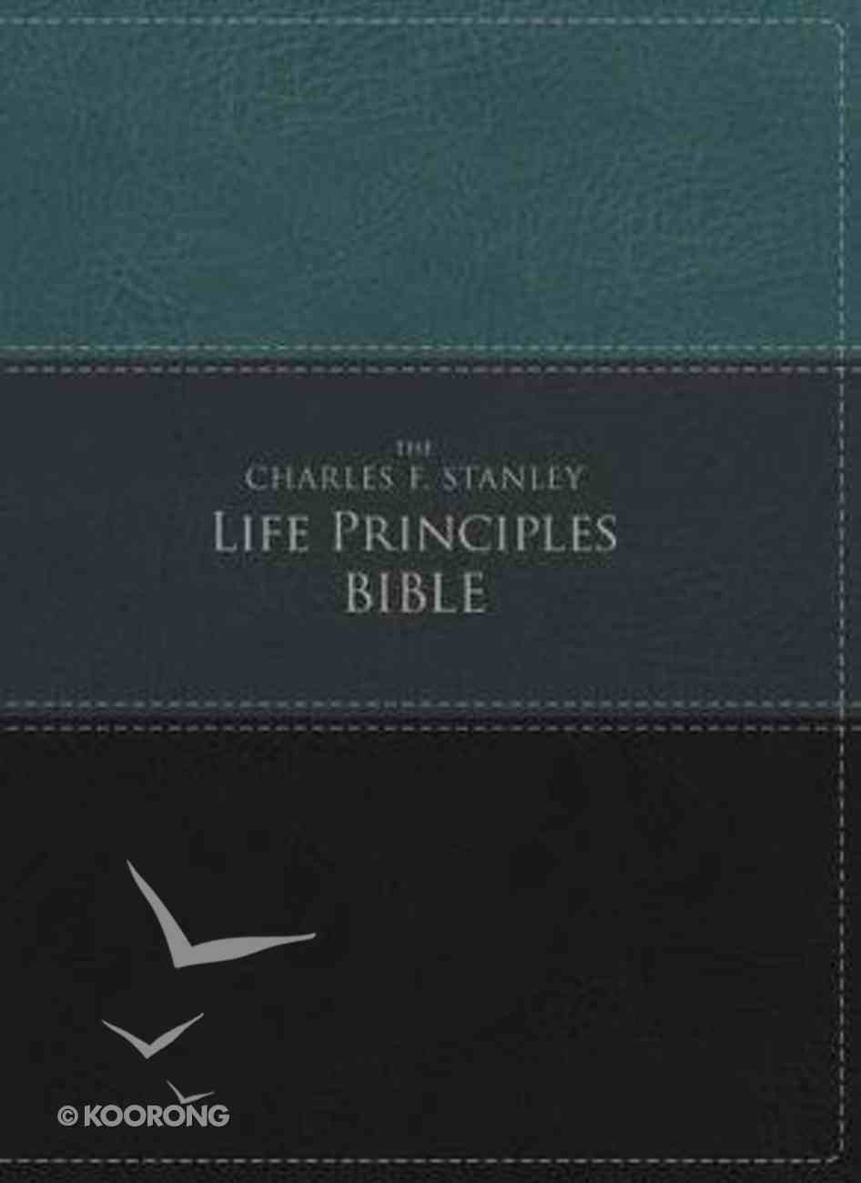 NIV the Charles F. Stanley Life Principles Bible Green/Black (Red Letter Edition) Premium Imitation Leather