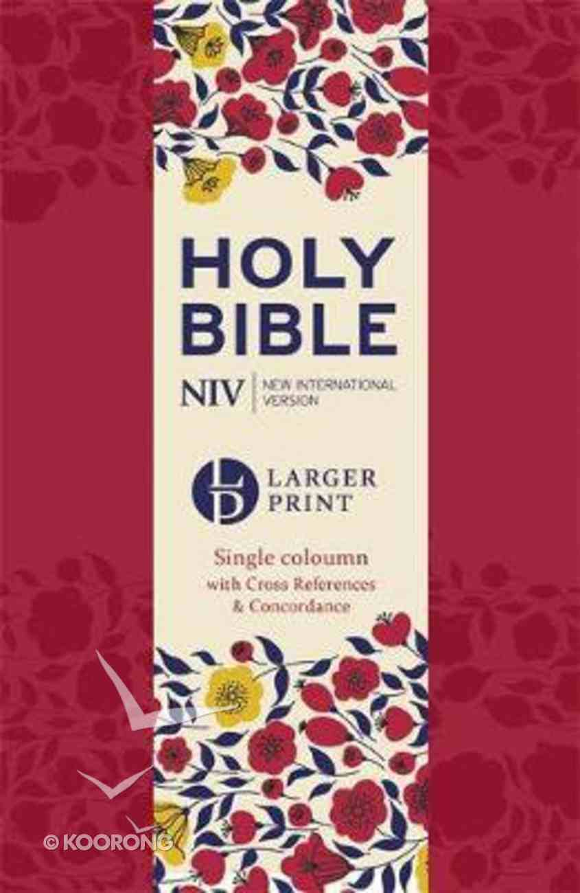 NIV Larger Print Compact Reference Bible Cherry Red Imitation Leather