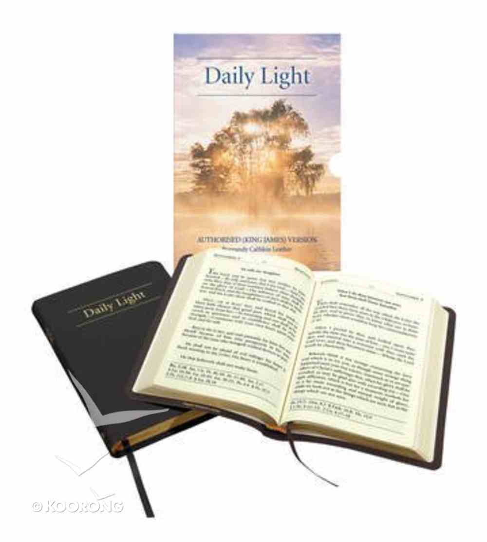 Daily Light KJV Large Print Daily Devotional Scripture Readings Black Genuine Leather
