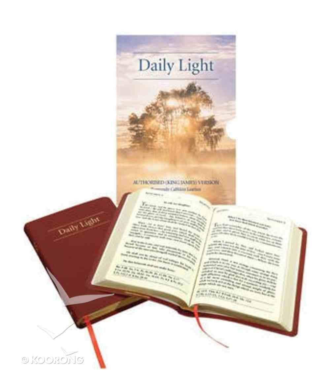 Daily Light KJV Large Print Daily Devotional Scripture Readings Burgundy Genuine Leather