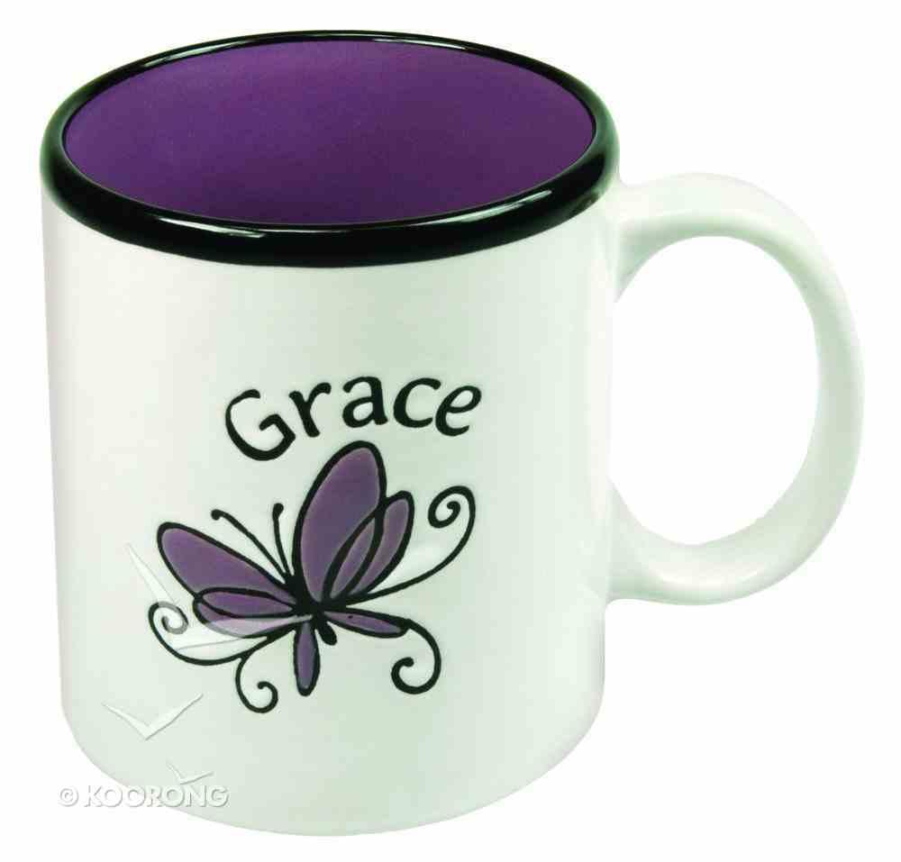 Inspirational Mug: Grace White/Purple (400ml) Homeware