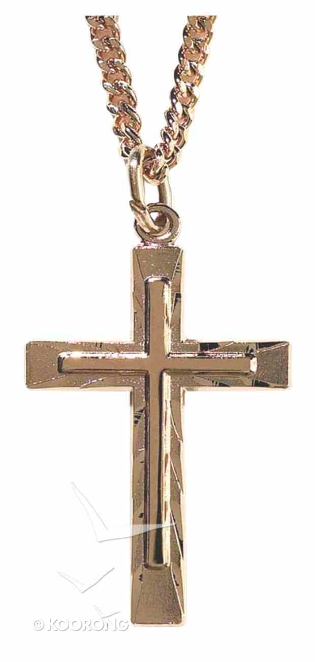 Necklace: Gold Plated Cross Within Cross on 60Cm Gold Plated Chain Jewellery