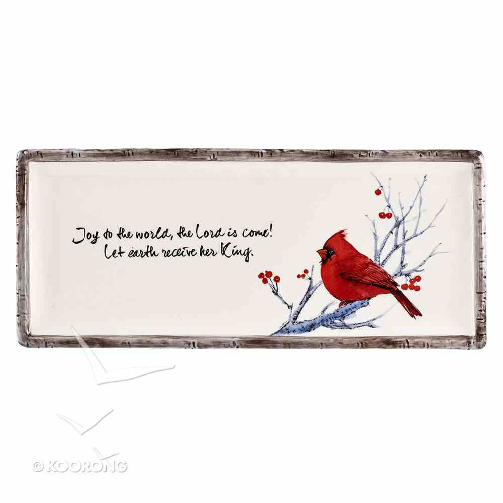 Christmas Rectangle Cookie Plate: Joy to the World.....Red Bird Homeware
