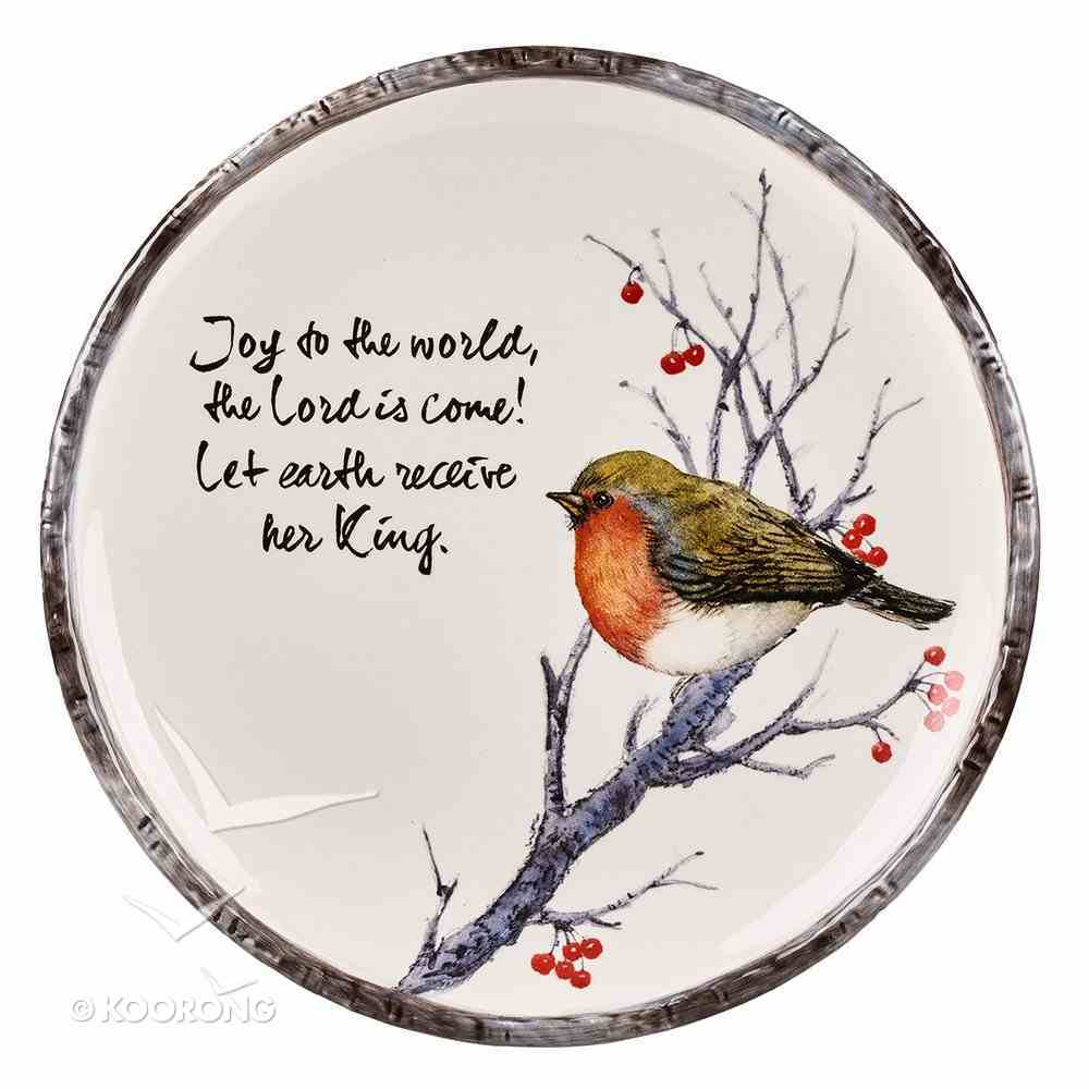 Christmas Round Cookie Plate: Joy to the World..... Bird Sitting in Tree Homeware