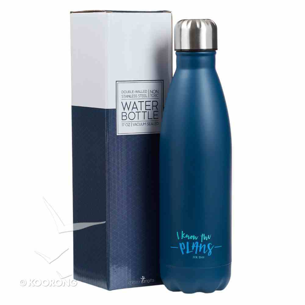 Water Bottle 500ml Stainless Steel: Blue - I Know the Plans (Vacuum Sealed) Homeware