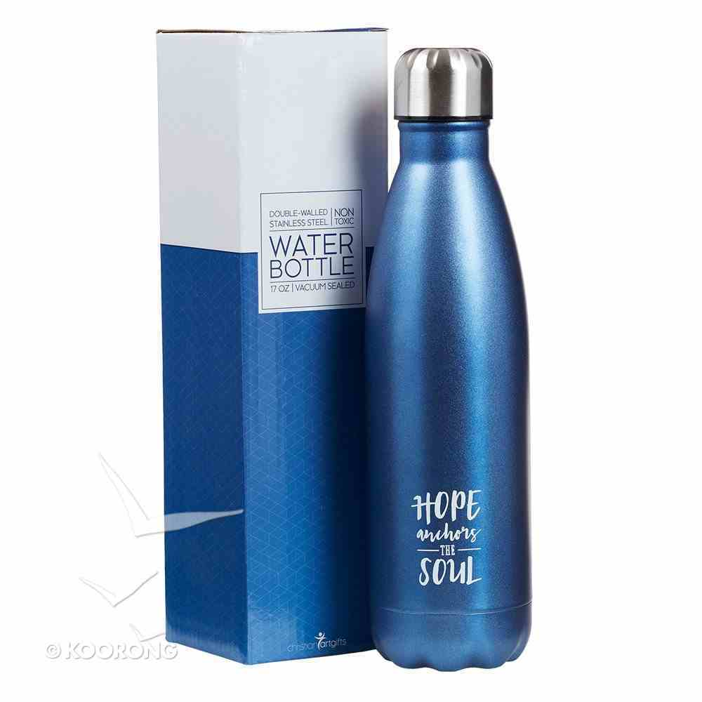 Water Bottle 500ml Stainless Steel: Metallic Blue - Hope Anchors the Soul (Vacuum Sealed) Homeware