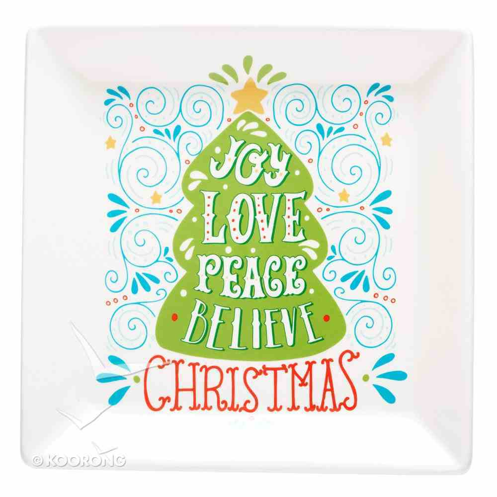 Christmas Ceramic Serving Plates: Joy, Love, Peace, Believe Homeware