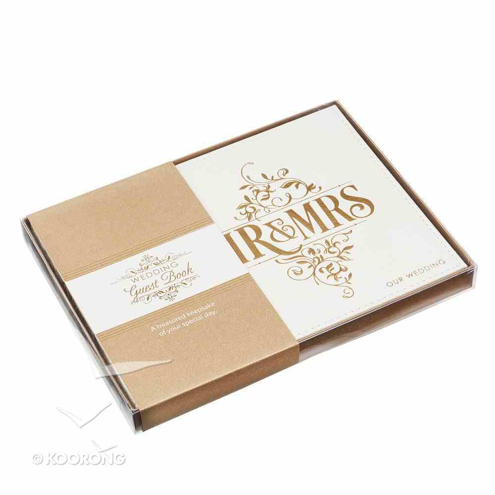 Guest Book: Wedding Mr & Mrs White/Gold Lettering Luxleather Stationery