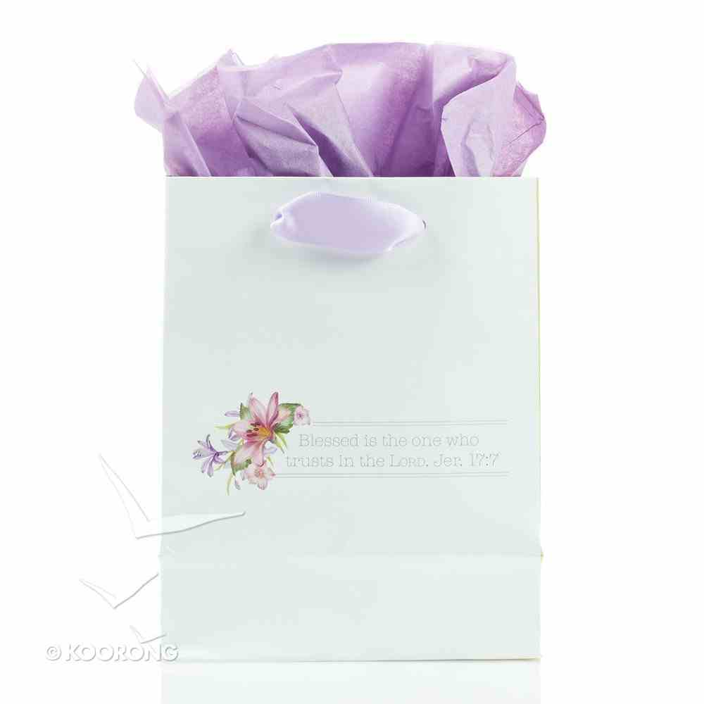 Gift Bag Small: May Your Day Be Blessed, White/Floral Blessings From Above Collection Stationery