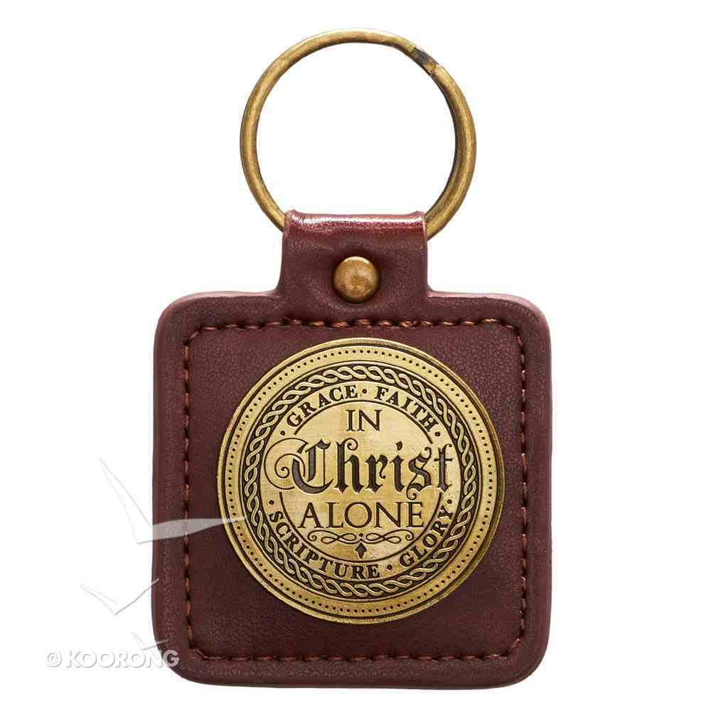 Keyring in Tin Box: In Christ Alone, Brown Jewellery