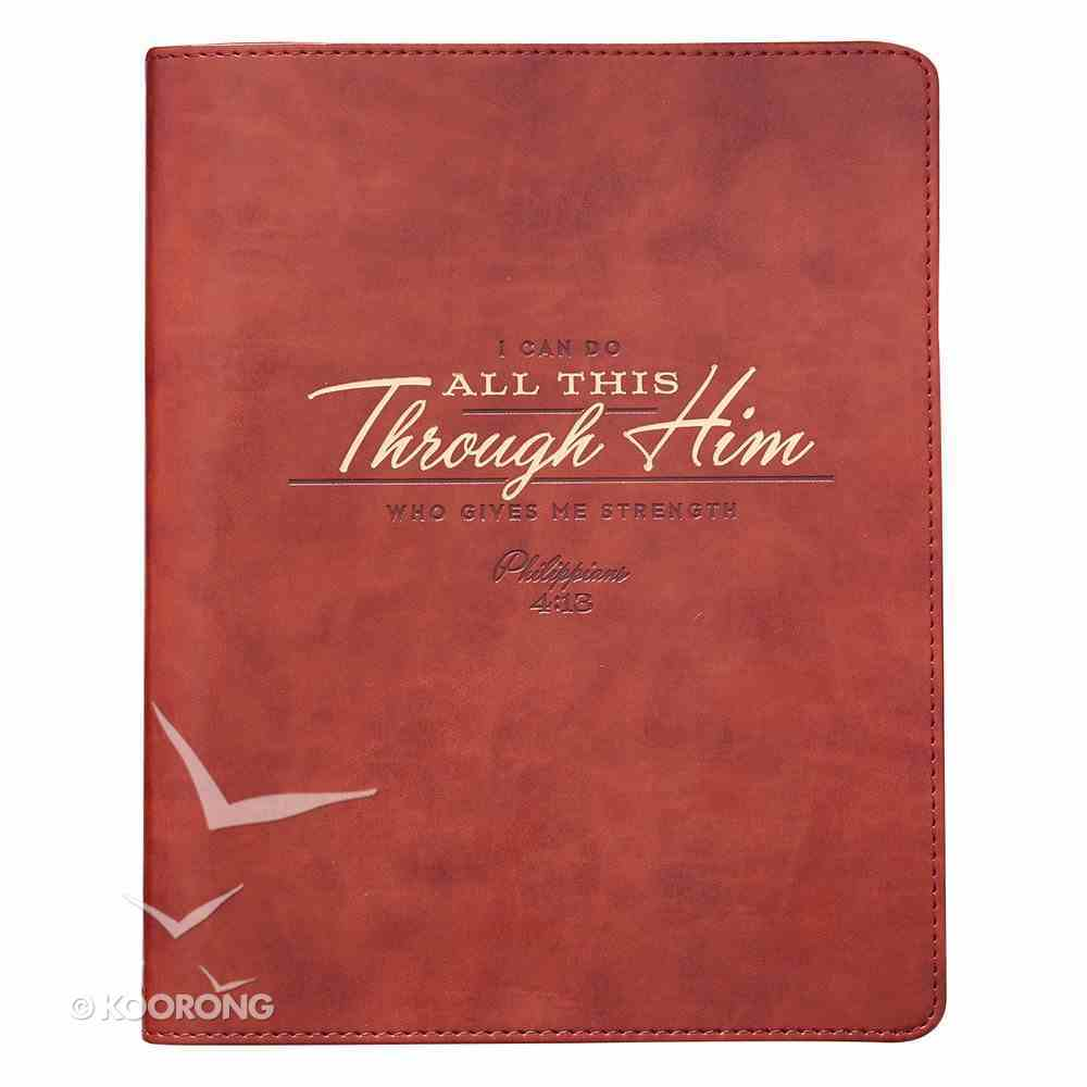 Classic Journal: I Can Do All This Through Him, Orange/Brown/Gold Lettering Imitation Leather