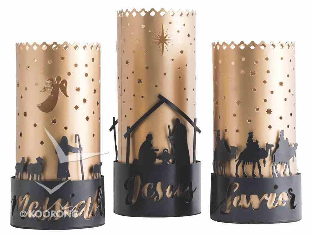 Christmas Names of Jesus Trio Hurricane Candle Holders: Savior, Jesus, Messiah Homeware
