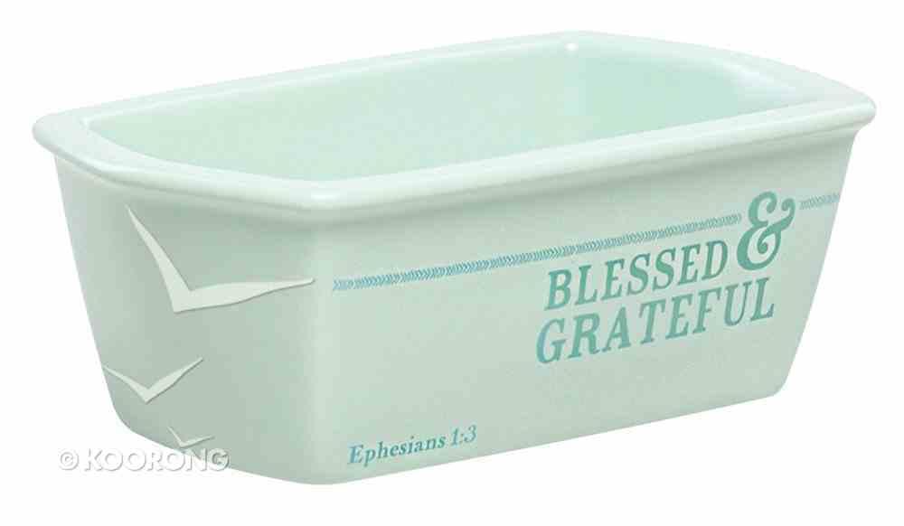 Ceramic Mini Loaf Pan: Blessed & Grateful Mint Green (Eph 1:3) Homeware