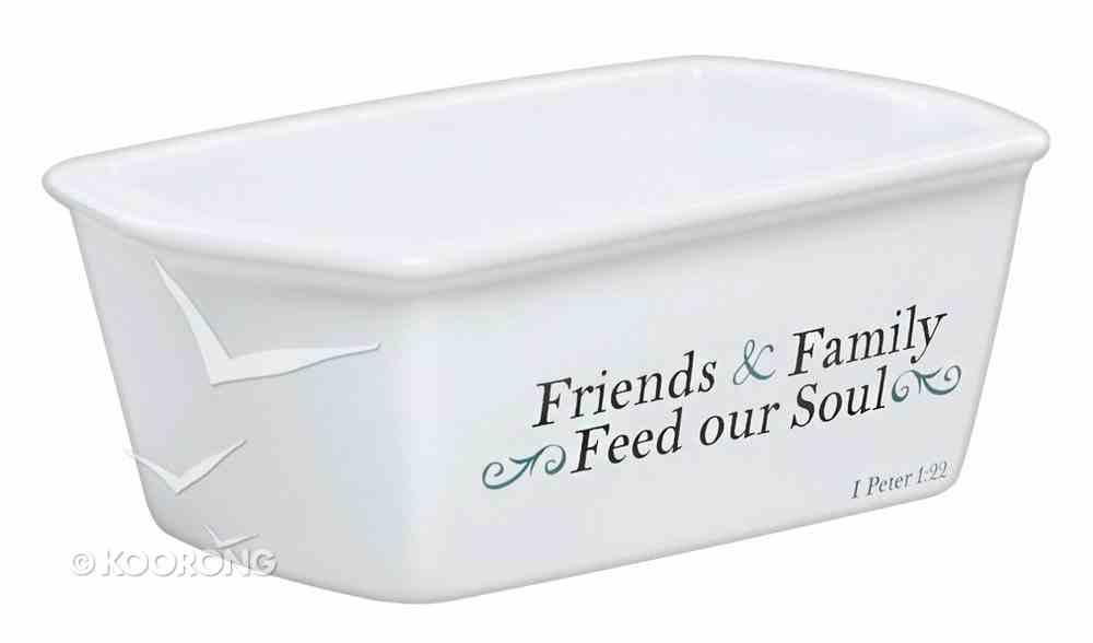 Ceramic Mini Loaf Pan: Friends & Family Cream/White (1 Peter 1:22) Homeware
