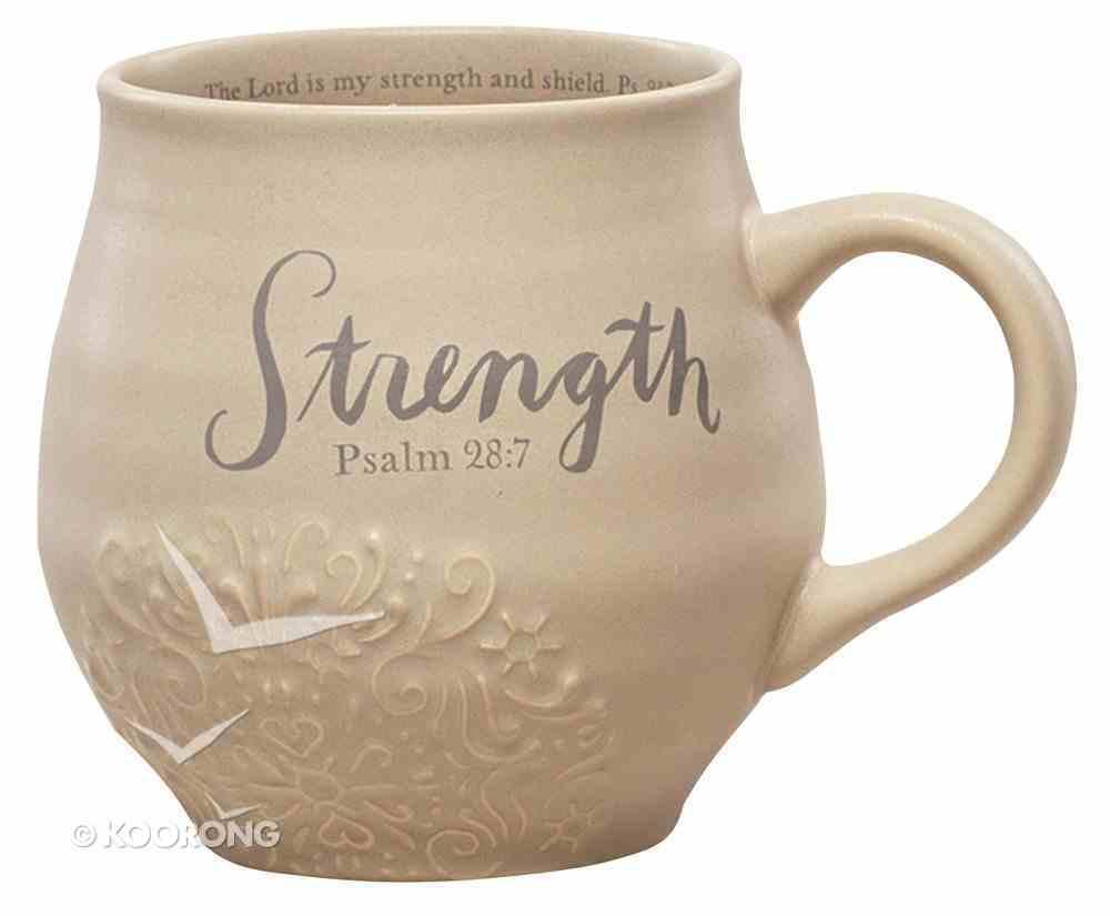 Ceramic Stoneware Mug: Strength Beige (Psalm 28:7) Homeware