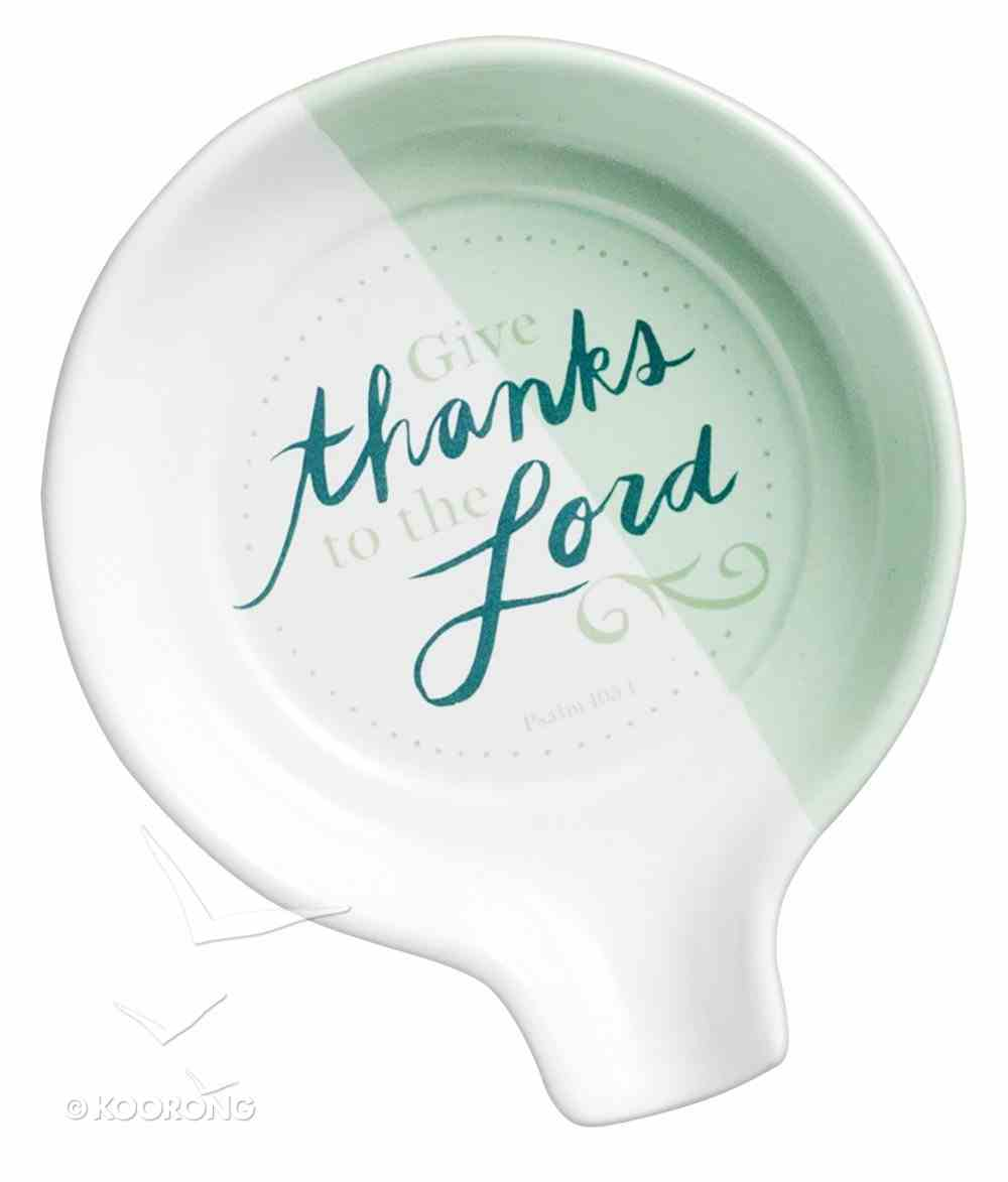 Ceramic Spoon Rest: Give Thanks Mint Green (Psalm 105:1) Homeware