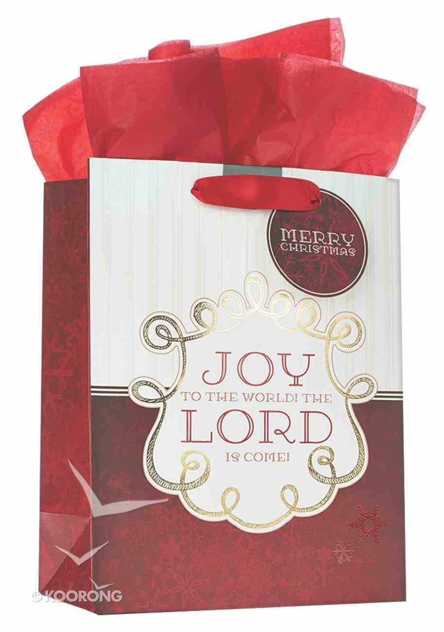 Christmas Gift Bag Medium: Joy to the World Red With Tissue Paper, Gift Tag & Satin Ribbon Handles Stationery