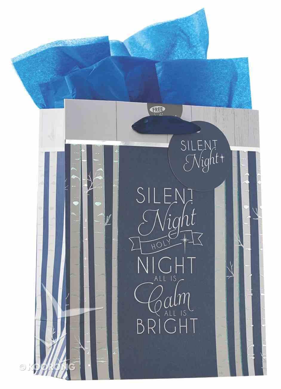 Christmas Gift Bag Medium: Silent Night With Tissue Paper, Gift Tag & Satin Ribbon Handles Stationery