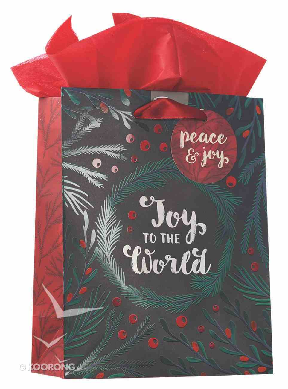 Christmas Gift Bag Medium: Joy to the World With Tissue Paper, Gift Tag & Satin Ribbon Handles Stationery