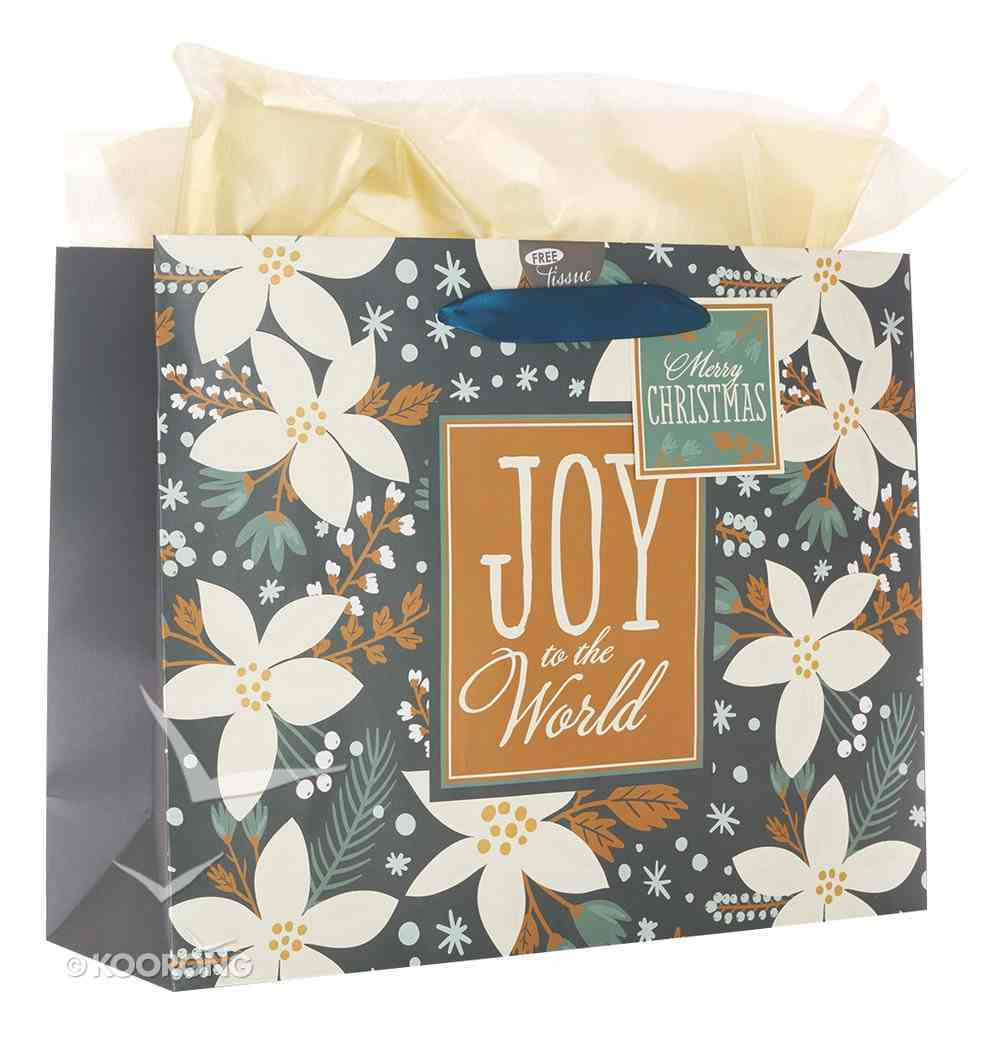 Christmas Gift Bag Large: Joy to the World With Tissue Paper, Gift Tag & Satin Ribbon Handles Stationery