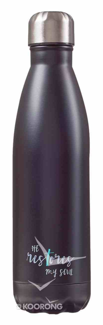 Water Bottle 500ml Stainless Steel: Black - He Restores (Vacuum Sealed) Homeware