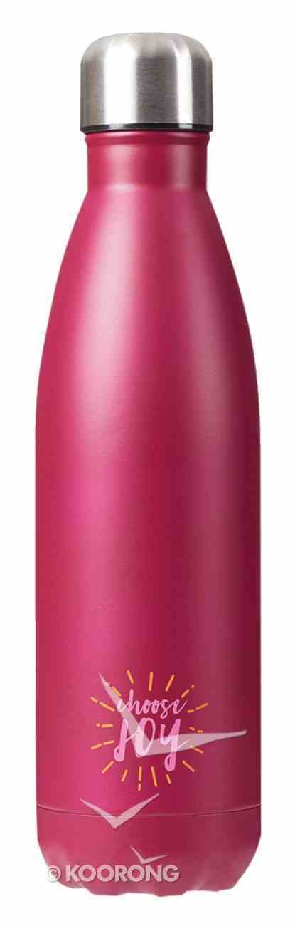 Water Bottle 500ml Stainless Steel: Burgundy - Choose Joy (Vacuum Sealed) Homeware