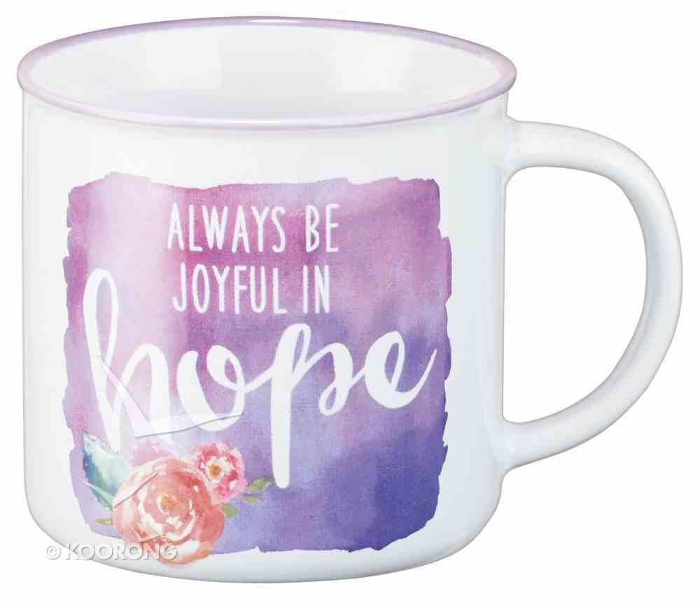 Ceramic Watercolor Mug: Always Be Joyful in Hope, Purple With Flower (White/Purple) (355ml) Homeware