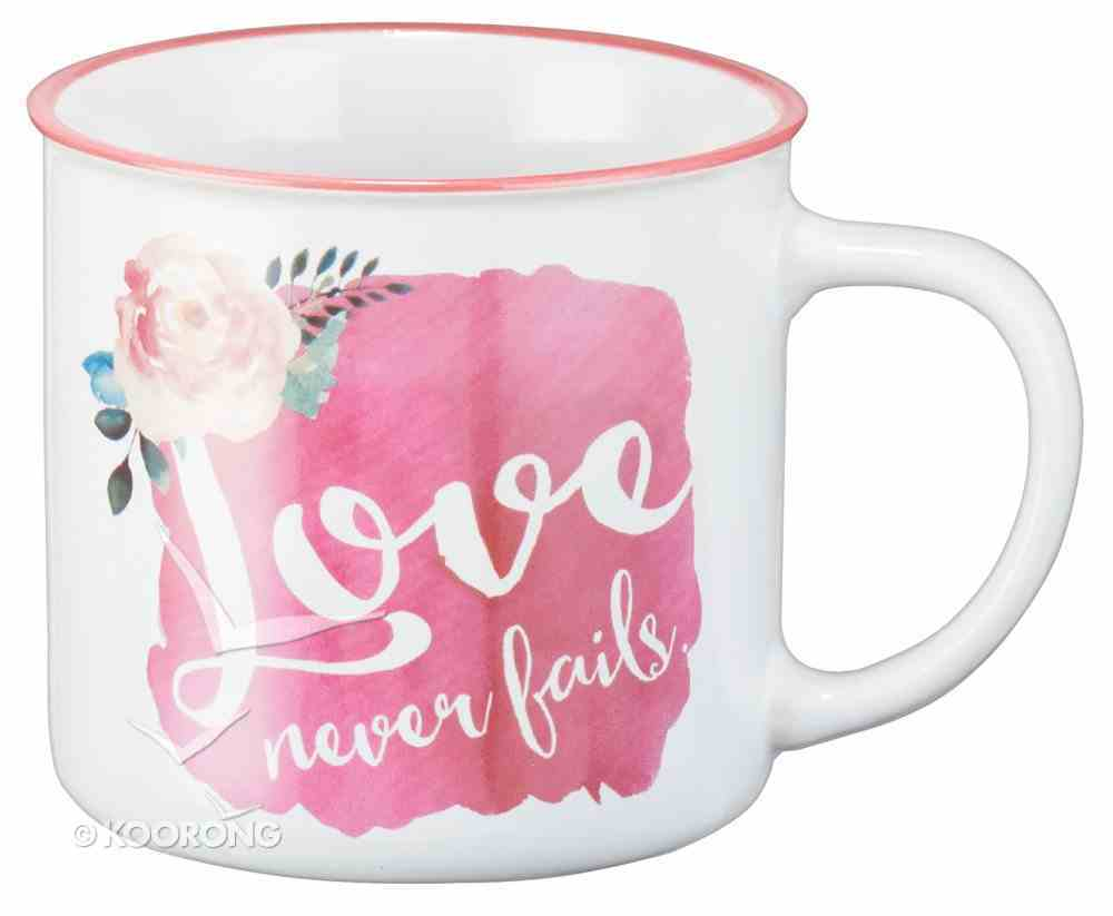 Ceramic Watercolor Mug: Love Never Fails, Red With Flower (White/red) Homeware