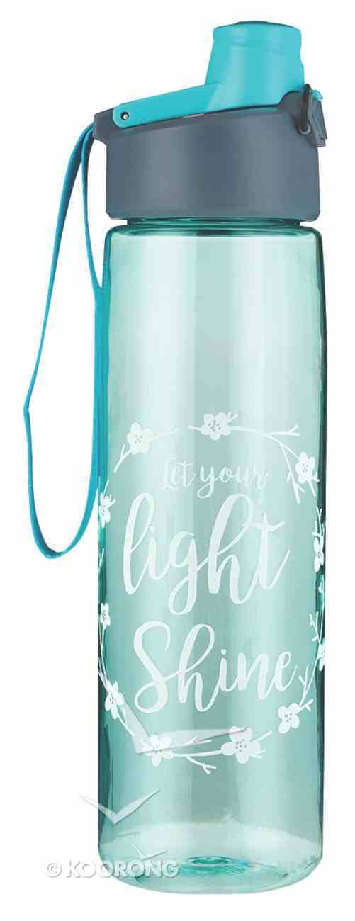 Plastic Water Bottle: Let Your Light Shine (Teal/white Wreath) Homeware