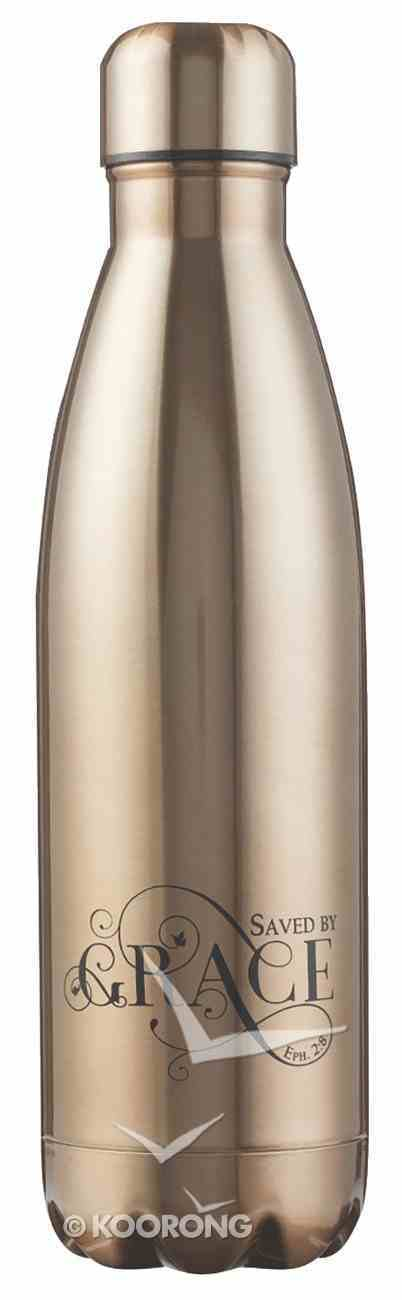 Water Bottle 500ml Stainless Steel: Saved By Grace, Gold/Black Homeware
