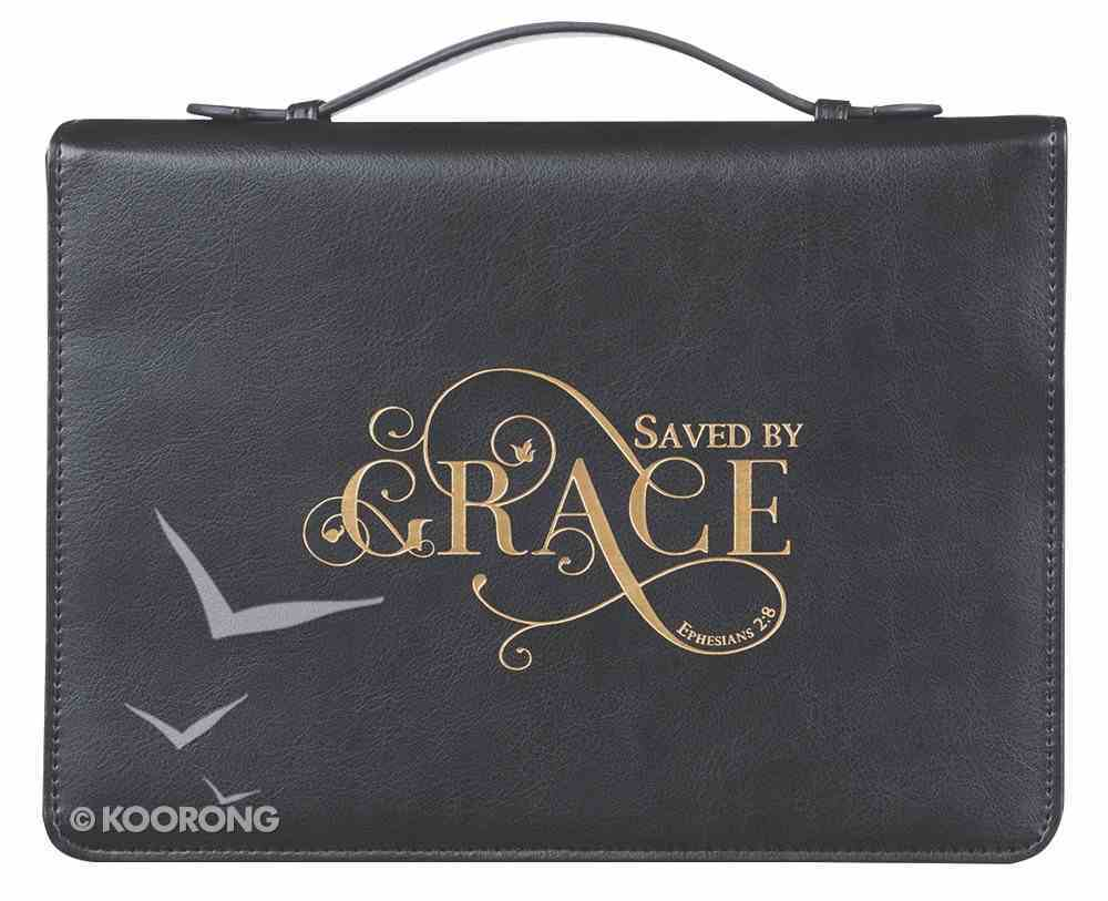 Bible Cover Saved By Grace, Large, Black Bible Cover