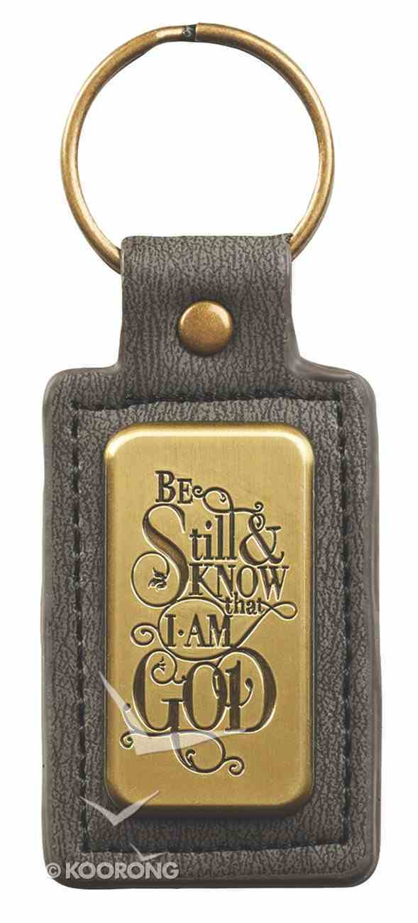 Luxleather Keyring: Be Still & Know That I Am God Saved By Grace (Black/gold) Jewellery
