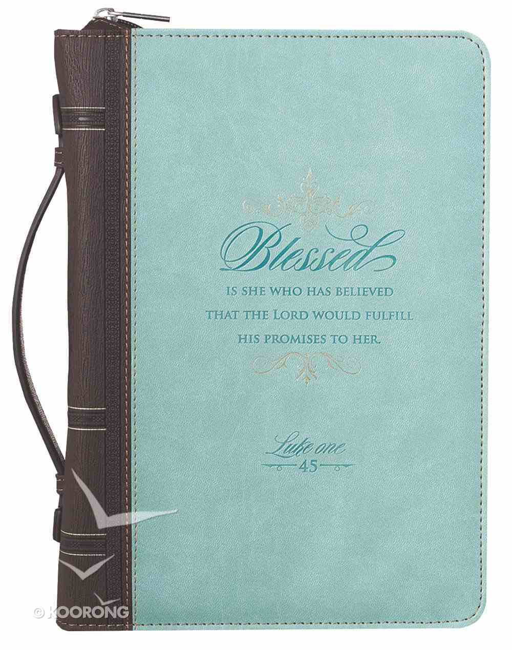 Bible Cover Blessed is She Luke 1: 45 Large Turquoise/Brown Bible Cover