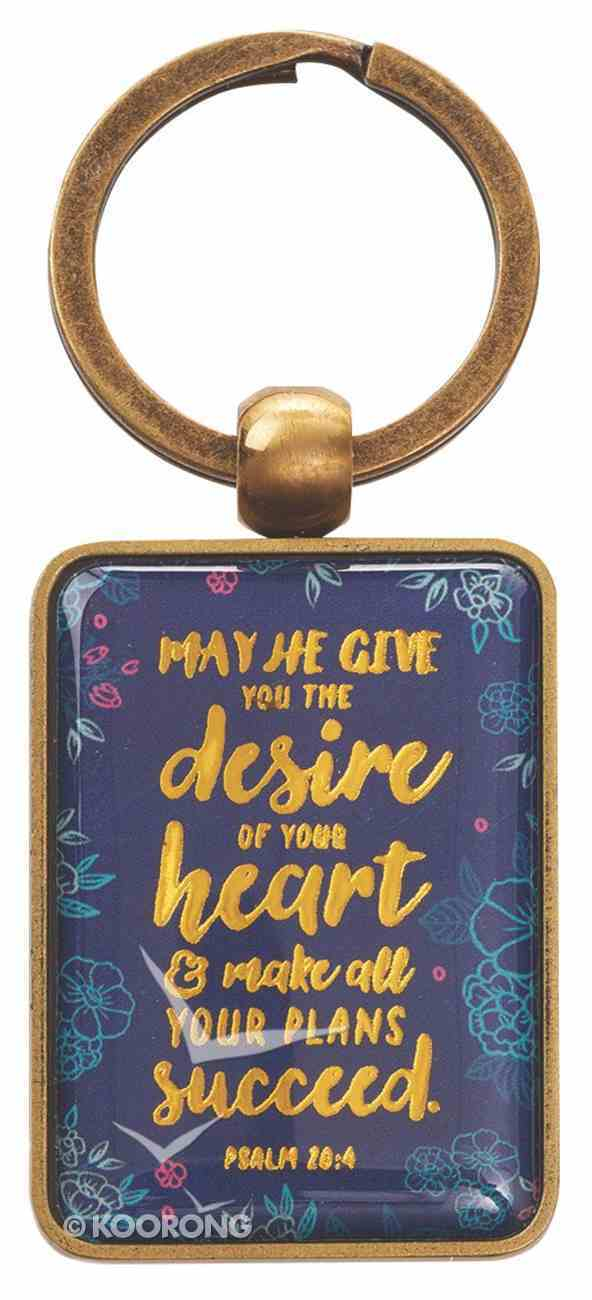 Metal Keyring: May He Give You the Desire of Your Heart Navy/Floral/Gold (Psalm 20:4) Jewellery