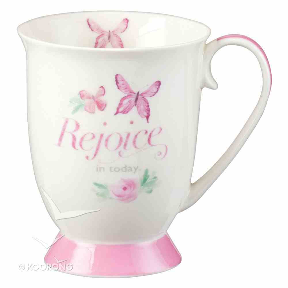 Ceramic Mug Sing For Joy: Rejoice (Pale Pink/floral/white) Homeware