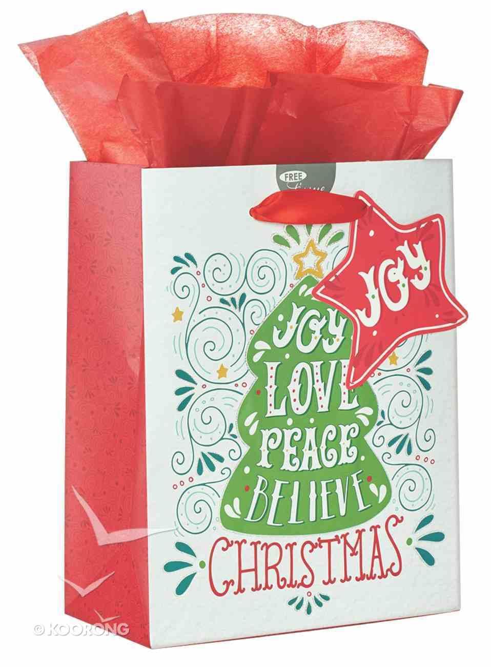 Christmas Gift Bag Medium: Joy, Love, Peace With Tissue Paper, Gift Tag & Satin Ribbon Handles Stationery